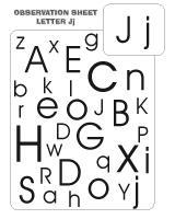 Observation sheet - Letter J