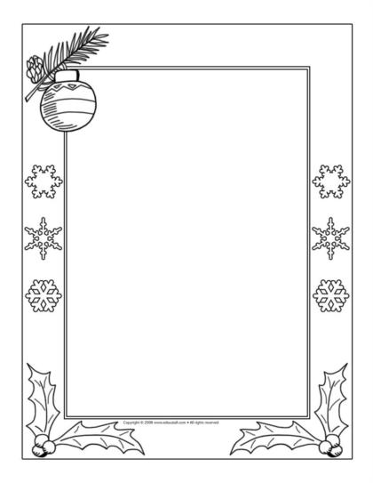 Free Coloring Pages Of Christmas Frame