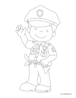 Coloring pages theme-Police