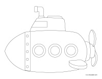 Coloring pages theme-Submarines