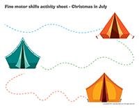 Fine motor skills activity sheets-Christmas in July