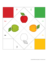 Folded paper apple tasting game