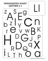 Observation sheet - The letter L