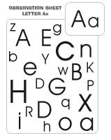 Observation sheets - Letter A