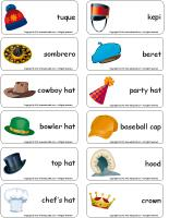 Word flashcards-Hats