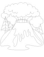 Coloring pages theme-Volcanoes