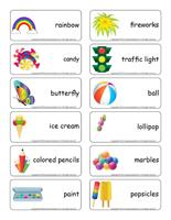 Word flashcards-The multicolored theme