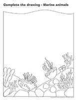 Complete the drawing-Marine animals