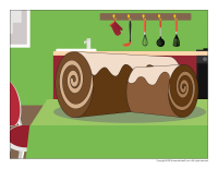 Scene-Christmas traditions-Yule log cake