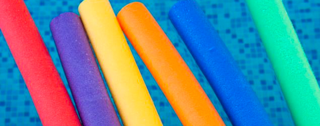 A swimming pool noodle flower