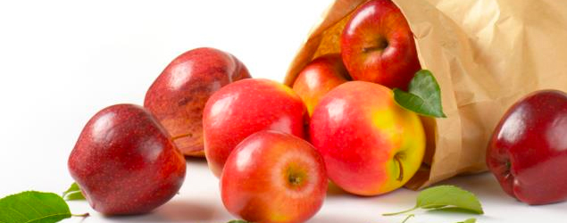 Hanging bag of apples