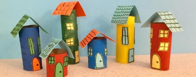 Paper roll mini city