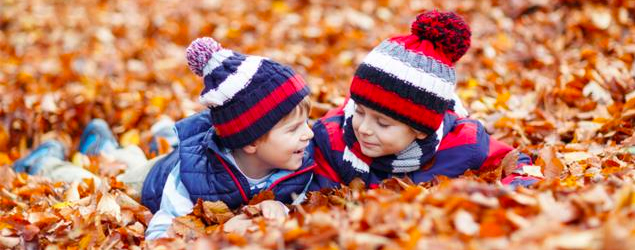 Playing outside during autumn