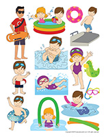 Stickers-At the pool