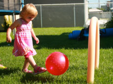 Using swimming pool noodles to create a soccer game-3
