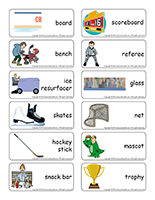 Word flashcards-At the rink