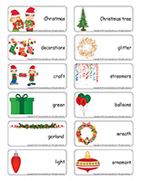 Word flashcards-Christmas Decorations