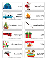 Word flashcards-Christmas in July