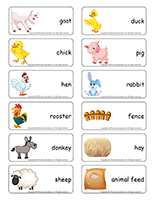 Word flashcards-Easter farm