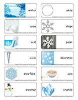 Word flashcards-Snowflakes