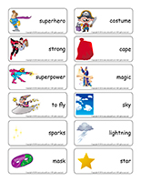 Word flashcards-Superheroes