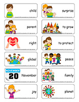 Word flashcards-Universal Children's Day 2020