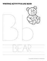 Writing activities-B like bear