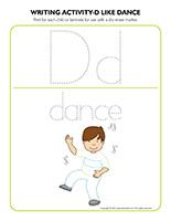 Writing activities-D like dance