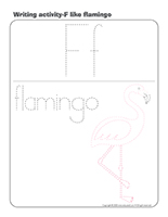 Writing activities-F like flamingo