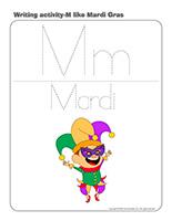 Writing activities-M like Mardi Gras