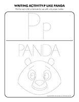 Writing activities-P like panda