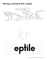 Writing activities-R like reptile
