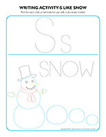 Writing activities-S like snow