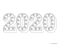 coloring pages theme-Happy New Year 2020