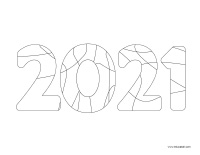 coloring pages-theme Happy New Year 2021