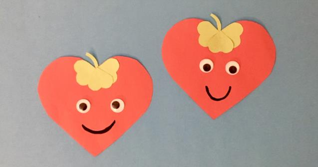 Paper heart strawberries - Arts and crafts - Educatall