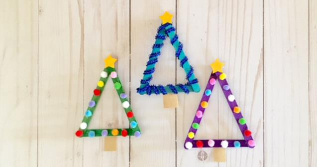 Popsicle Stick Christmas Trees - Arts and crafts - Educatall