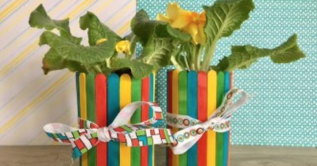 Popsicle stick flowerpot - Arts and crafts - Educatall