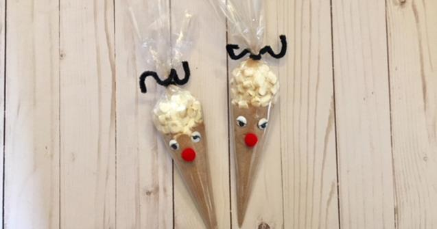 Reindeer hot cocoa cones - Arts and crafts - Educatall